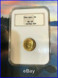 Genuine 1904 Gold Coin 5 Rouble Graded Ngc Ruble Russian Empire Antique Russia
