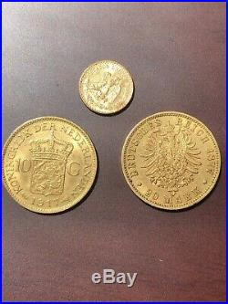 Gold Bullion Coin Collection 10 Guilders 20 Marks Dos Pesos Investment Ready