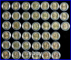 Gold presidential dollar set, 39 coins, mint new, uncirculated, in capsules