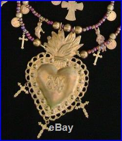 Graciela Barrios Sacred Heart Milagro Necklace Antique Milagros & 10K Gold Coins