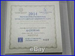 Greece 2014 200 Aristoteles proof gold coin Extremely Rare