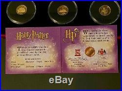 Harry Potter Coins GOLD PROOF SET 2001 Pobjoy Mint RARE