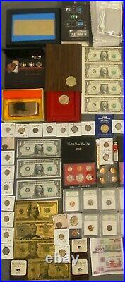 Huge Estate Lot, Silver+gold Coins, Uncut Bills, Many Collectibles, Worth $1000+++++