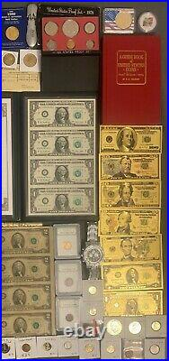 Huge Estate Lot, Silver+gold Coins, Uncut Bills, Many Collectibles, Worth $1000++113