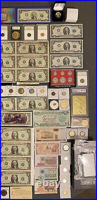 Huge Estate Lot, Silver+gold Coins, Uncut Bills, Many Collectibles, Worth $1100+++++