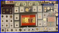 Huge Estate Lot, Silver+gold Coins, Uncut Bills, Many Collectibles, Worth $1400+#125