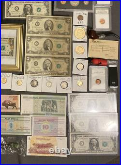 Huge Estate Lot Silver+gold Coins, Uncuts, Many Collectibles, Worth $1000, 117
