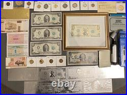 Huge Estate Lot -silver+gold Coins, Uncut Bills, Many Collectibles, Worth $900, 116