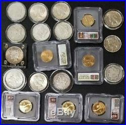 Huge Lot US Collectible Coin Collection Gold Silver Peace/ Morgan Dollars More