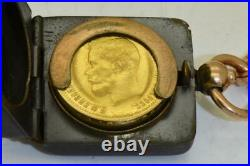 Imperial Russian Faberge coin holder, egg fob, chain and 10 gold Rouble coin 1899