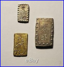Japan 1830-1869 Bu and Shu Gold and Silver 3 Coin Pre-Meji Collection Nice XF