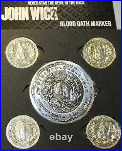 John Wick 2 Blood Oath Marker & 4 Gold Continental Coins Set Life Size Props NEW