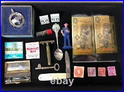Junk Drawer Lot 1921 Morgan Silver Dollar Coins Gold Stamps Knife Antique Photo
