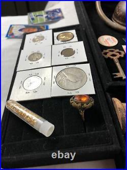 Junk Drawer Lot 1923 S Peace Dollar Coins Vial Of Gold Mini German Knife 24k