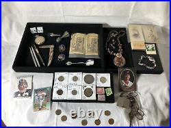 Junk Drawer Lot Gold 1923 Silver Peace Dollar Coins Celtic Jewelry Cards