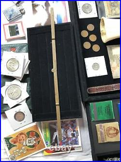 Junk Drawer Lot Gold Silver Coins 1946 Walking Liberty Half Fossil Watch Jewelry