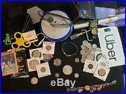 Junk Drawer Lot Morgan Silver. 925 Sterling Gold Jewerly Coins Mason Pin + MORE