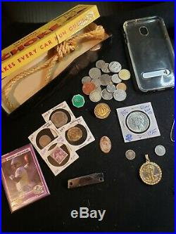 Junk Drawer Lot PEACE Dollar. 925 Sterling Silver 14k Gold Jewerly, Coins + MORE