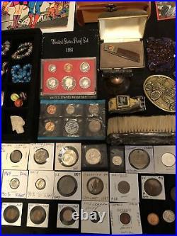 Junk Drawer Lot Silver Franklin Walking Liberty Coins Sterling Proof Set Gold