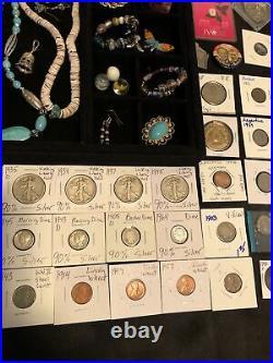 Junk Drawer Lot Silver JFK Morgan Walking Librty Coins Sterling Jewelry Gold
