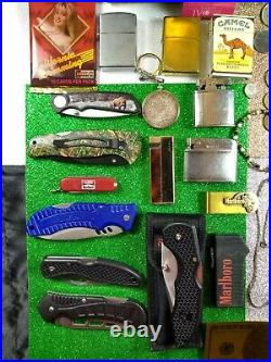 Junk drawer lot Knives Zippo, Gold, Silver, Lighters, Knives, Jewelry, Coins
