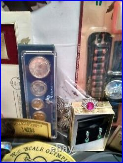Junk drawer lot Random Gold Silver Watches Knives Jewelry Coins Elvis