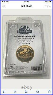 Jurassic Park 25th Anniversary Velociraptor Gold Coin Sold Out Ltd To 1000