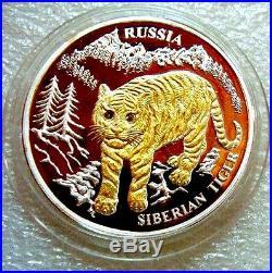 LIBERIA 2004 $10 RUSSIA SIBERIAN TIGER SILVER PROOF GOLD Pl COIN 2 x DIAMONDS