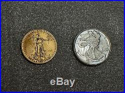 LOT of TWO 1/10 oz Gold Coin & Silver Eagle NICE Collectibles & Investment
