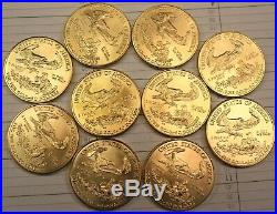 Lot of 10 American Gold Eagles 1 oz coins, collectible dates mostly 2004