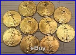 Lot of 9 American Gold Eagles 1 oz coins, random collectible dates 1993-2011