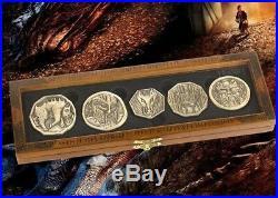Lotr Hobbit Smaug 5 Gold Coin Prop Replica Set Dragon Treasure + Collectors Case