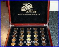 Macquarie Mint 50 US State Quarters Coin Collection Gold Plated With Wooden Box