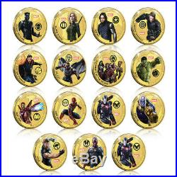 Marvel Avengers Infinity War Collection Gold Coin / Medal Complete Pack