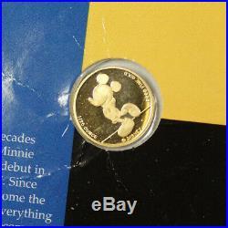 Mickey Mouse Pure Gold 1/25th Oz 9999 Disney Commemorative Coin AMPAC in Case