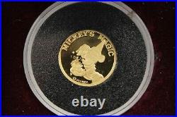 Mickey's Magic Good Luck 1/4 Oz. 999 Fine Gold Disney Rarities Mint Coin #01942