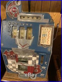 Mills 5 Cent Castle Front Coin Op Slot Machine Wjackpot Gold Award Fortune Reel