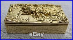 Mint 9kt Gold 39 Grams 3-d Horse Racing Scene Snuff Box 8 Hallmarks London 1970