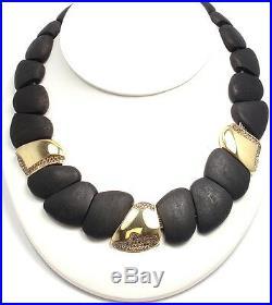 New! Roberto Coin 18k Yellow Gold Capri Collection Ddiamond Ebony Wood Necklace