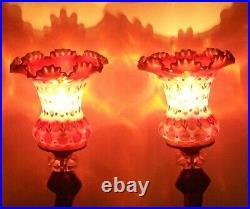 Pair RARE FENTON CRANBERRY OPALESCENT COIN DOT with GOLD CHERUB LAMPS ANTIQUE VTG