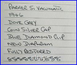 Parker 51 VACUMATIC 1946 DOVE GREY COIN SILVER CAP 14K FINE NIB RESTORED