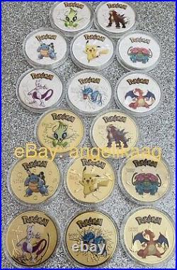 Pokemon Pikachu Silver & Gold Collectible Coin Card Gift Souvenir Rare Pokemon
