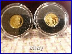 RCM 2013 Gold coins set collection 12 pcs- 0.50 g pure gold wood case &magnifier
