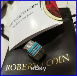 ROBERTO COIN 18K WHITE GOLD DIAMOND and TURQUOISE RING PRIMAVERA COLLECTION