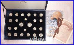 Rare Collection 24 Ancient Greek Coins Pure Silver 950, 1 Gold Plated 24 K