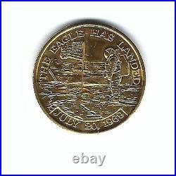 Rare Gold Apollo 11 Mfa Flown Metal Nasa Columbia Eagle Medallion Medal Coin