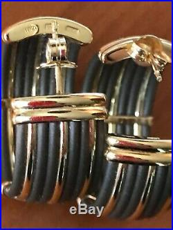 Roberto Coin Africa Collection 18k Yellow Gold & Brown Rubber Hoop Earrings
