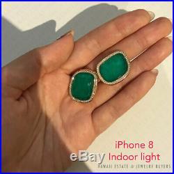 Roberto Coin Black Jade Collection Green Agate Diamond 18k Yellow Gold Earrings