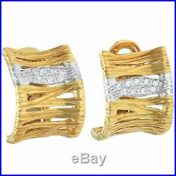 Roberto Coin Elephant Skin Collection Diamond Snap Earrings 18k Yellow Gold Wide