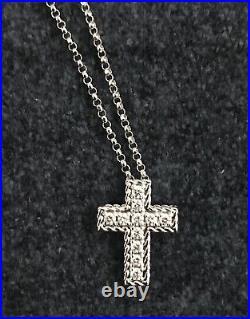 Roberto Coin Princess Collection White Gold Diamond Cross 0.15 ct necklace